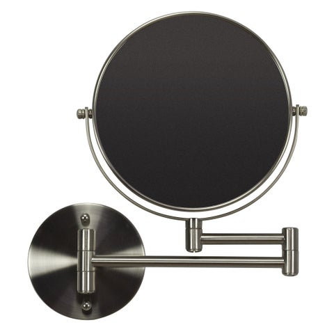 19.56-in. W Round Brass-Mirror Wall Mount Magnifying Mirror In Brushed Nickel Color - Brushed Nickel - N/A