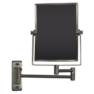 16.36-in. W Rectangle Brass-Mirror Wall Mount Magnifying Mirror In Brushed Nickel Color - Brushed Nickel - N/A