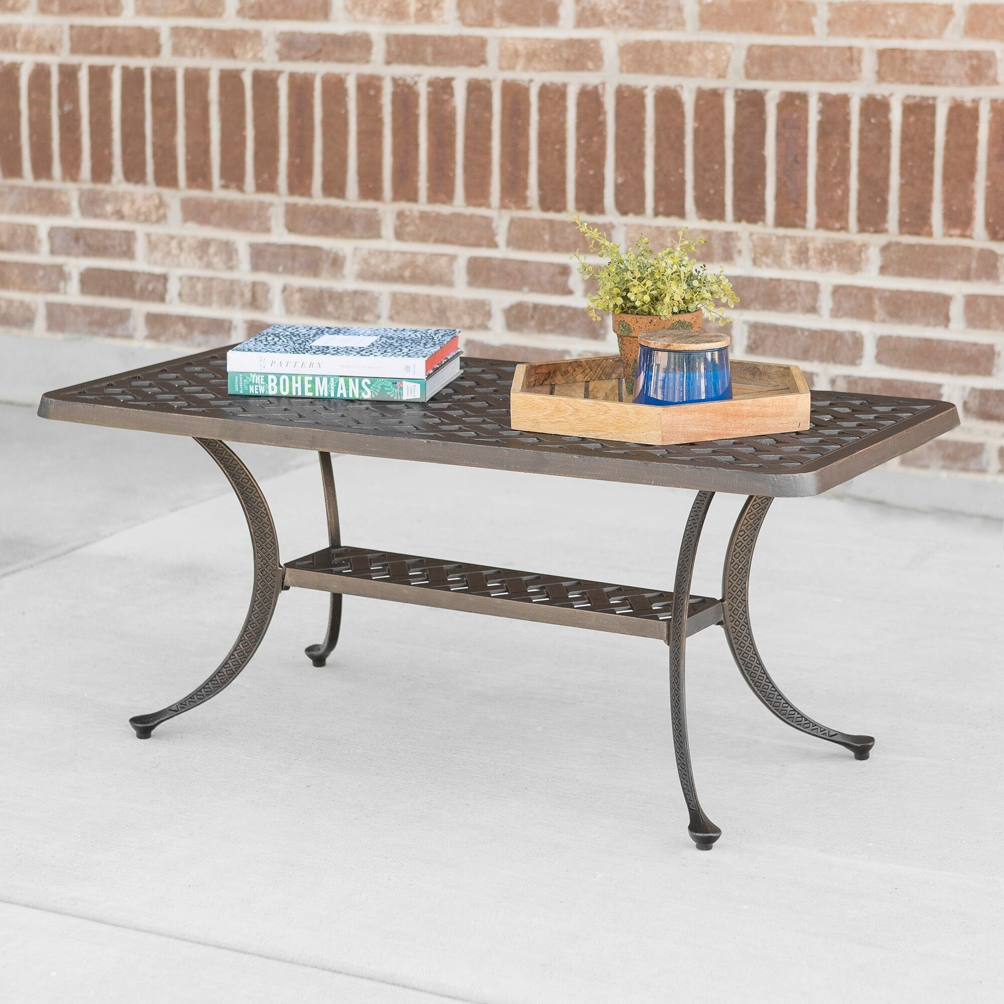 Shop Cast Aluminum Wicker Style Outdoor Coffee Table Antique