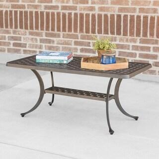 Cast Aluminum Wicker Style Coffee Table - Antique Bronze