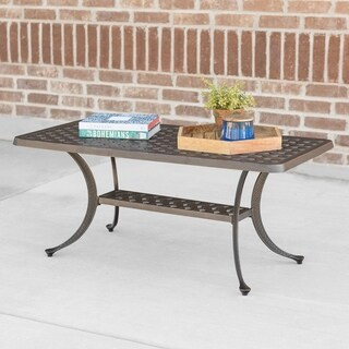Cast Aluminum Wicker Style Outdoor Coffee Table - Antique Bronze