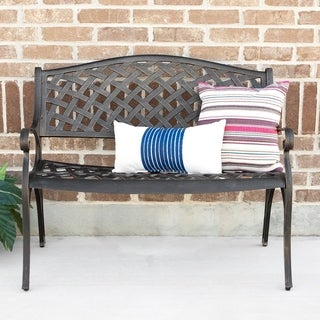 42-inch Cast Aluminum Wicker Outdoor Bench - Antique Bronze
