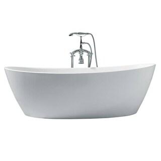 Ariel Platinum Valencia White Acrylic 70-inch Oval Bathtub