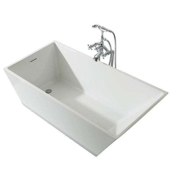 Ariel Platinum Verona White Acrylic 63 Inch Rectangular Bathtub   Free  Shipping Today   Overstock.com   22931996