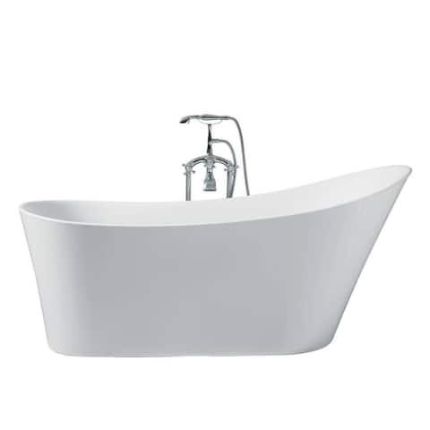 Ariel Platinum Paris White Acrylic 67-inch Oval Bathtub