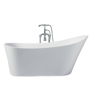 Ariel Platinum Paris White Acrylic 67-inch Oval Bathtub