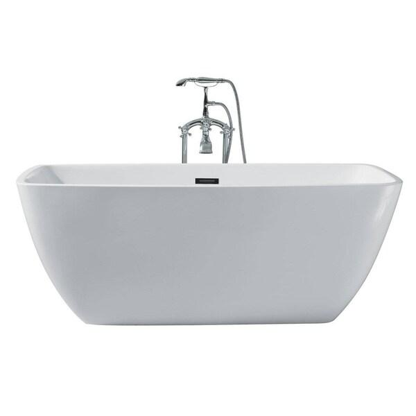 Ariel Platinum Aurora White Acrylic 63 Inch Rectangular Bathtub