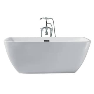 Ariel Platinum Aurora White Acrylic 63-inch Rectangular Bathtub