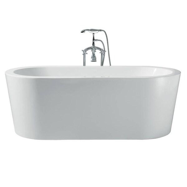 Ariel Platinum Charlotte White Acrylic 67inch Oval Bathtub Free