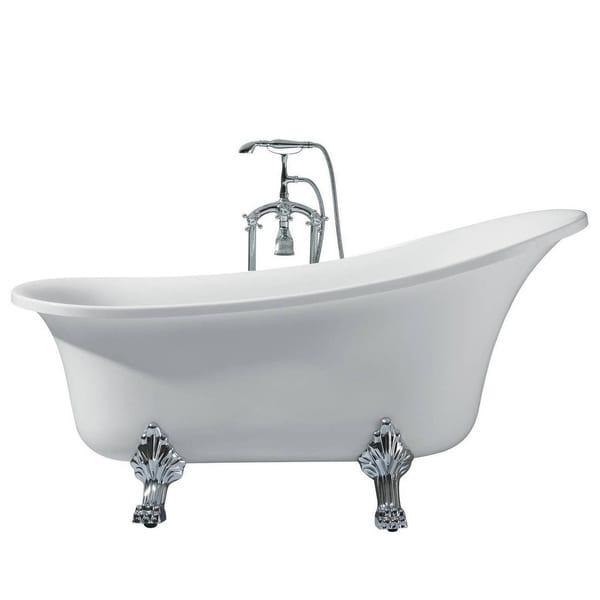 Ariel Platinum Isabella White Acrylic 63 Inch Oval Bathtub
