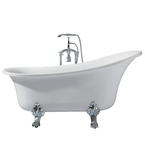 Ariel Platinum Isabella White Acrylic 63-inch Oval Bathtub