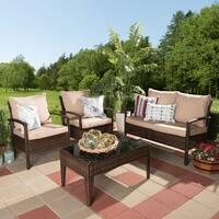 Contemporary 4-Piece Brown Wicker Outdoor Patio Set by Baxton Studio