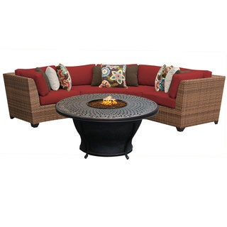 Outdoor Home Bayou Aluminum/Acrylic 4-piece Outdoor Patio Wicker Lounge Set with Fire Pit