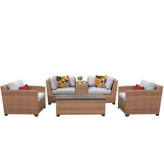Outdoor Home Bayou Wicker 6-piece Outdoor Patio Lounge and Storage Table Set