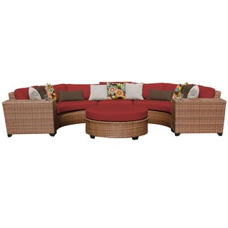 Bayou 6 Piece Outdoor Patio Rounded Synthetic Wicker Sectional with Ottoman