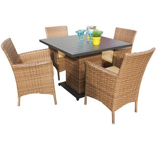 Outdoor Home Bayou Wicker Outdoor Patio Square Dining Table Set
