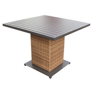 Outdoor Home Bayou Grey Aluminum and Wicker Square Outdoor Patio Dining Table