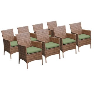Outdoor Home Bayou Wicker Outdoor Dining Chairs with Arms (Set of 8)