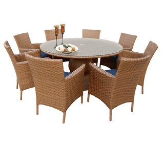Outdoor Home Bayou Wicker 60-inch Outdoor Patio Wicker Dining Table with 8 Chairs