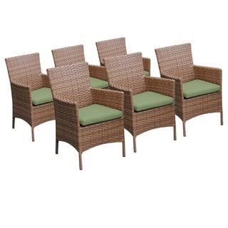 Bayou Wicker Outdoor Patio Dining Chairs with Arms (Set of 6)