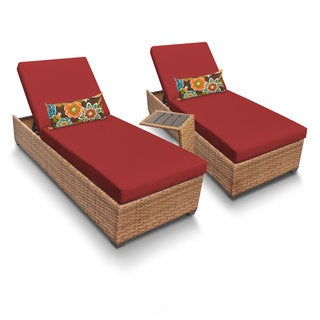 Outdoor Home Bayou Wicker 2-piece Outdoor Patio Wicker Chaise Lounge and Side Table Set