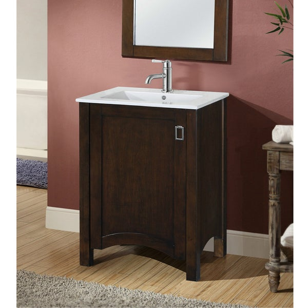 Shop contemporary style brown 24 inch single sink bathroom vanity free shipping today for Modern bathroom vanity 24 inch