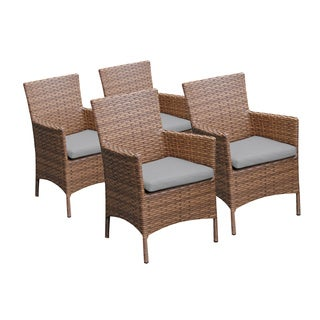 Bayou Outdoor Patio Synthetic Wicker Dining Chairs with Arms (Set of 4)