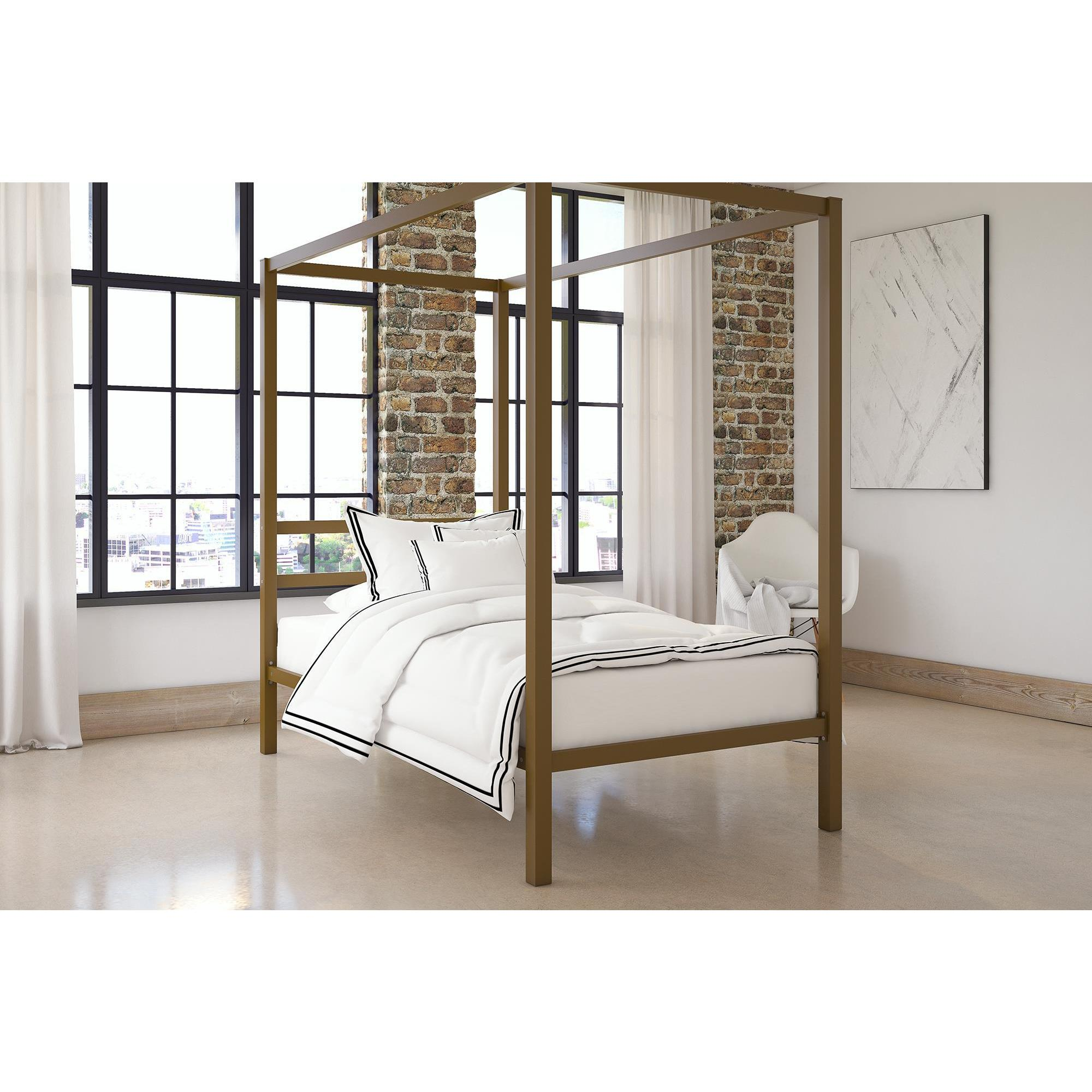 Shop DHP Gold Metal Modern Canopy Bed - Free Shipping On Orders Over ...