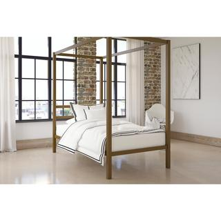 The Curated Nomad Hillard Gold Metal Modern Canopy Bed (2 options available)