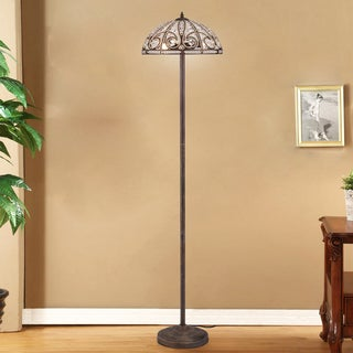Pronima Aged Bronze Crystal Scroll 64-Inch Floor Lamp