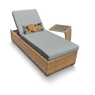 Outdoor Home Bayou Wicker Outdoor Patio Chaise Lounge Wth Side Table