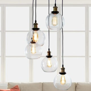 Deeni Edison 5-light Adjustable-length Pendant Silver Tint Lamp