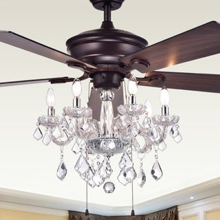 Warehouse of Tiffany Havorand 52-inch 5-blade Ceiling Fan with Crystal Chandelier (Optional Remote) - Brown