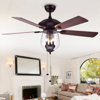Warehouse Of Tiffany Tibwald Wood Glass 52 Inch 5 Blade Lighted Ceiling Fan