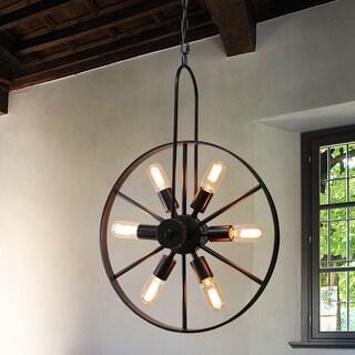 Warehouse of Tiffany Cedmar Antique Bronze Metal 19-inch 6-light Edison Wheel Pendant Light