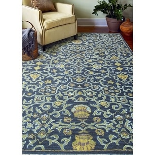 Irvington Navy/Gold Wool Hand-tufted Floral Area Rug (4' x 6') - 3'9 x 5'9