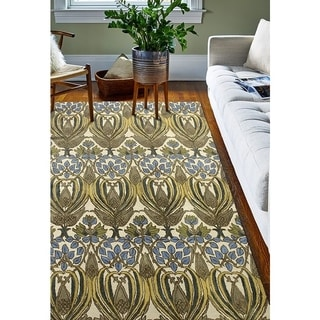 Armonk Ivory/Gold Wool Tufted Floral Area Rug (4' x 6') - 3'9 x 5'9