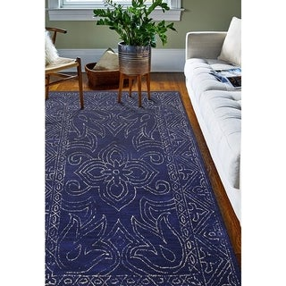 Waverley Navy Blue Wool Hand-tufted Floral Area Rug (5' x 7'6)