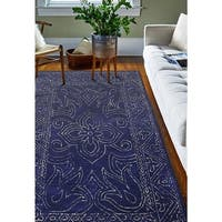Waverley Navy Blue Wool Hand-tufted Floral Area Rug - 5' x 7'6""