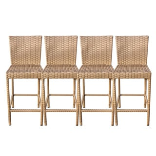 Outdoor Home Bayou Wicker Outdoor Patio Barstools With Back (Set of 4)