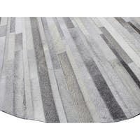 Hunter Grey Leather Round Woven Area Rug (8' x 8')