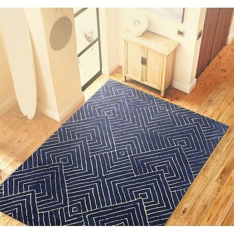 "Bancroft Navy Blue Wool Hand-tufted Geometric Area Rug - 5' x 7'6"""