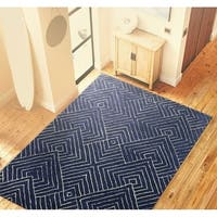 Bancroft Navy Blue Wool Hand-tufted Geometric Area Rug - 5'x 7'6