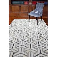 Cameron Grey Leather Woven Area Rug