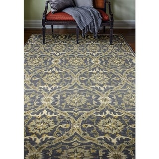 Bedford Blue/Beige Wool Hand-tufted Floral Area Rug (6' x 9')