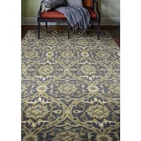 Bedford Blue/Beige Wool Hand-tufted Floral Area Rug - 6' x 9'