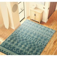 Avalon Blue Tufted Wool Area Rug (5' x 8')