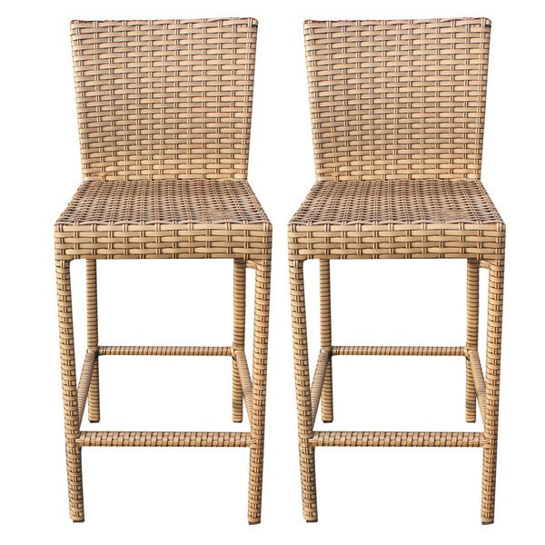 Beau Outdoor Home Bayou Wicker Outdoor Patio Barstools With Back (Set Of 2)