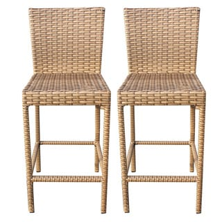 Outdoor Home Bayou Wicker Outdoor Patio Barstools With Back (Set of 2)