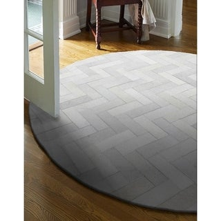 Dylan Grey Leather Round Area Rug (8' x 8')